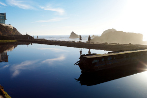A photo of the Sutro Baths ruins in San Francisco