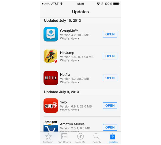 Automatic Updates iOS 7