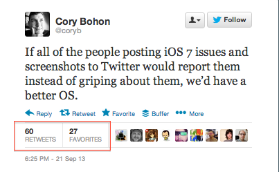 A screenshot of Cory Bohon's tweet about iOS 7 complaints on Twitter and how to give feedback more constructively