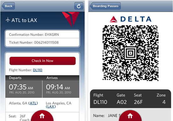 Convenience factor of Delta's mobile app