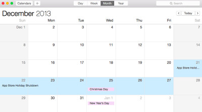 App Store Holiday Shutdown Dates