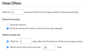 Frequency targeting in the Apptentive dashboard