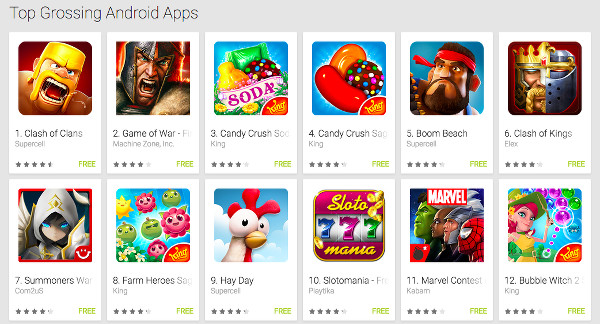 The 12 Highest Grossing Android Apps