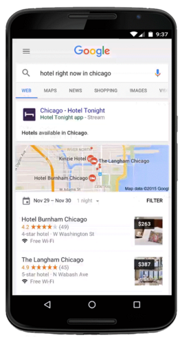 Mobile app indexing search results for Hotel Tonight