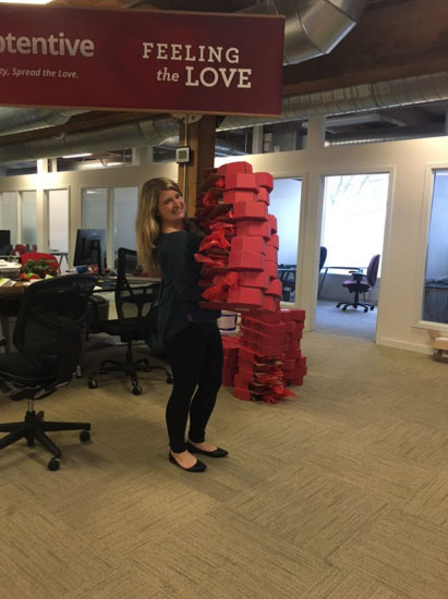 Apptentive's Rachel Harrington delivering Valentine's Day Customer Love boxes to customers