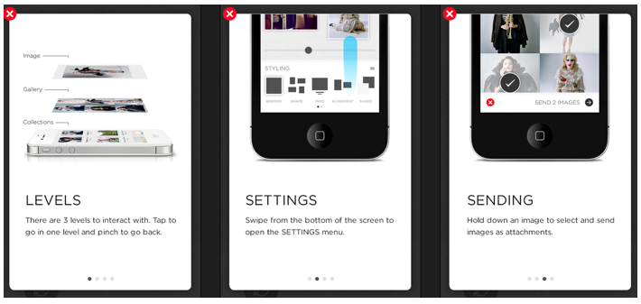 Function-oriented onboarding introduces gestures specific to the SquareSpace app