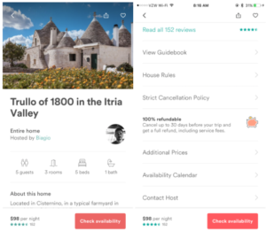 Airbnb in-app listing