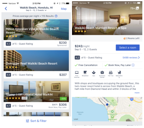 Expedia in-app search