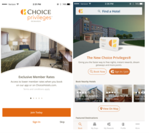 Choice hotels mobile app