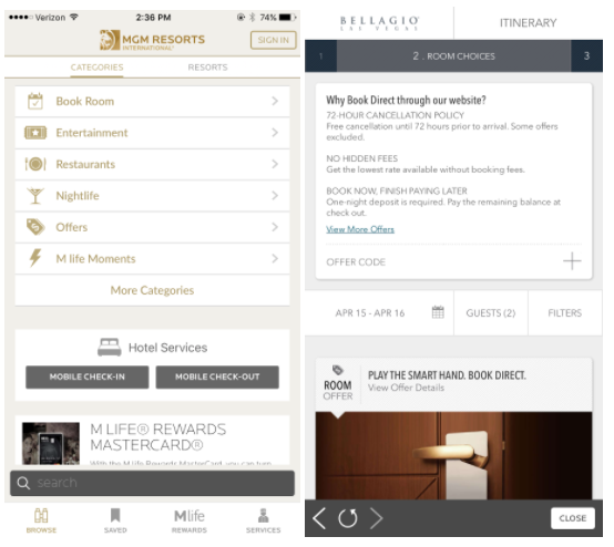 MGM Resorts mobile app