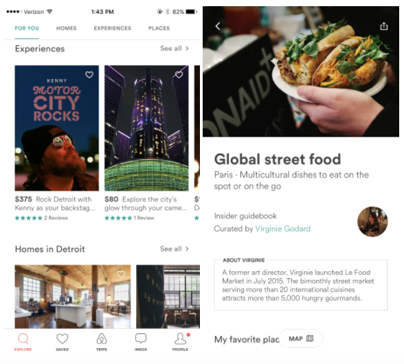 Airbnb experiences feature