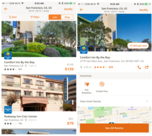 Choice Hotels in-app listing