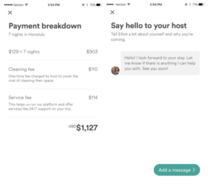 Airbnb in-app pricing and messaging