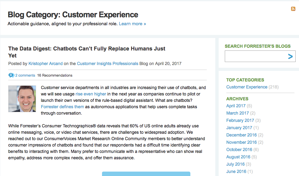 Forrester's Customer Experience Blog