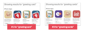 "App store search results for ""greeting card"""