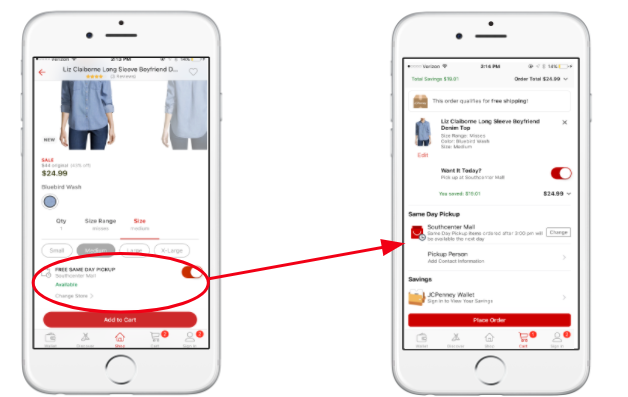 JCPenney mobile order and pick-up