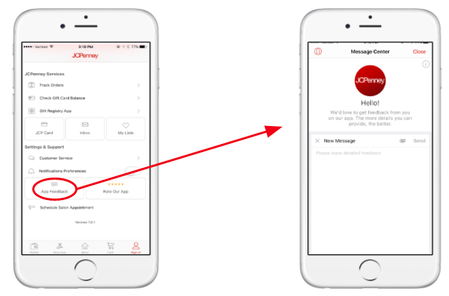 JCPenney in-app messaging