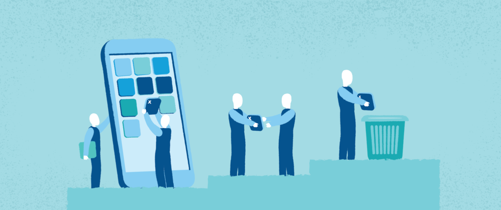 Illustration of people removing mobile app icons.