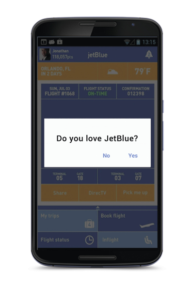 JetBlue Love Dialog