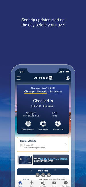 United Airlines mobile app