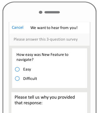 New app feature customer feedback survey