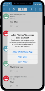 Venmo GPS tracking change iOS 13