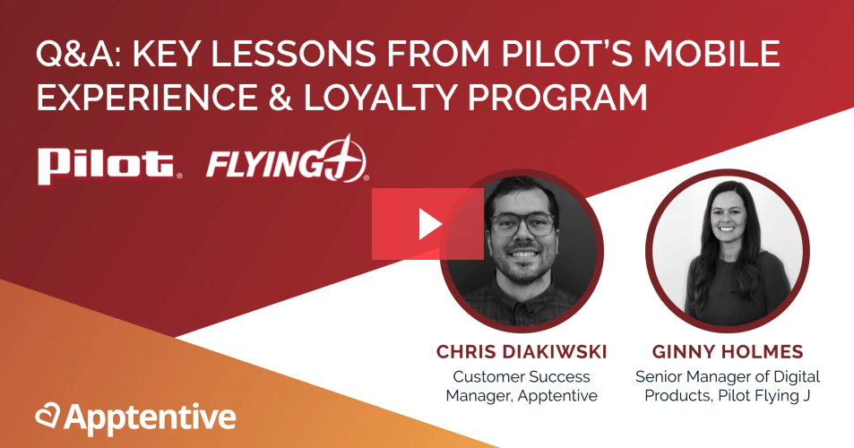 Promotional image for a webinar with Pilot Flying J and Apptentive discussion mobile loyalty programs