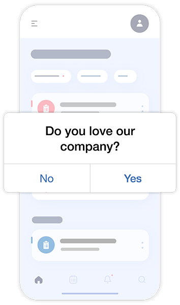 Love Dialog prompt on mobile phone